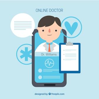 Синяя концепция онлайн-врача со смартфоном