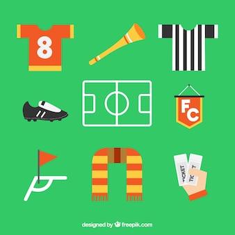 Коллекция футбольных элементов с оборудованием в плоском стиле