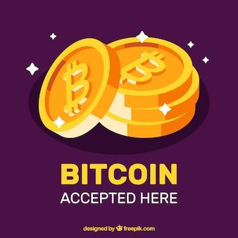 パープルとゴールデンビットコインデザイン