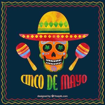 Фон синко де майо с мексиканским черепом и маракасом