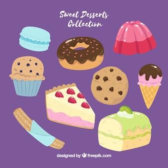 Коллекция сладких десертов в ручном стиле