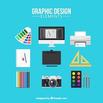 フラットスタイルのグラフィックデザイン要素コレクション