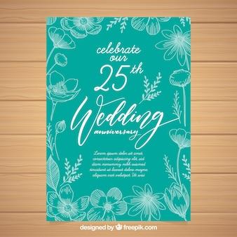 Свадебная открытка с цветами