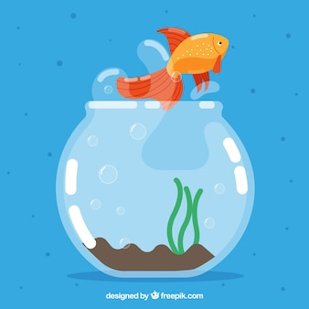 フライングスタイルの魚釣りから飛び出る金魚