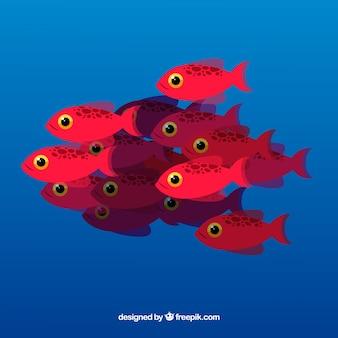 Школа рыбы фон с глубоким морем в плоском стиле