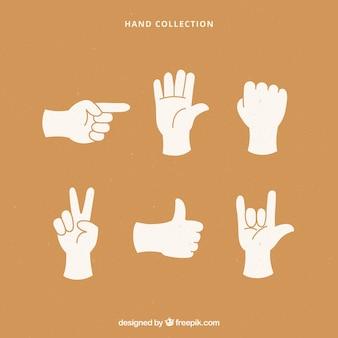 Коллекция рук с разными позами в стиле ручного рисунка