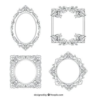 異なる装飾のヴィンテージフレームコレクション