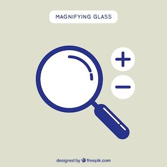 Фон увеличительного стекла в плоском стиле