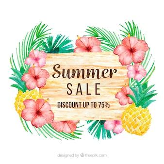 熱帯植物と夏の販売の背景