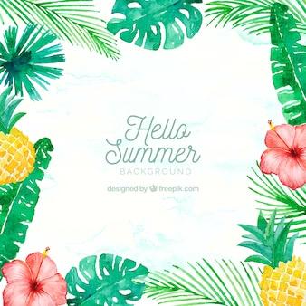 こんにちは、夏の背景に水彩画の植物や果物