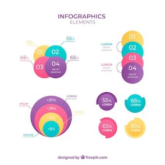 Набор инфографических элементов разных цветов