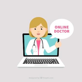 Онлайн-концепция врача с женщиной-врачом