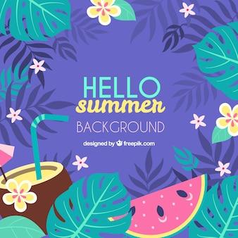 こんにちは、夏、植物、背景