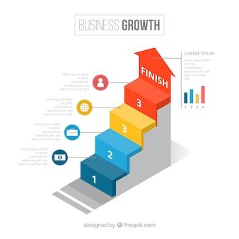 インフォグラフィックなステップを伴うビジネスコンセプト