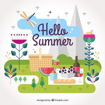 屋外でピクニックと夏の背景
