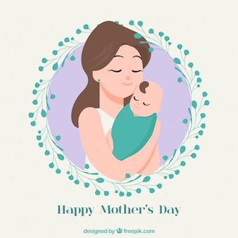 День матери фон с семьей в ручном стиле