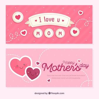 Баннеры дня матери в плоском стиле