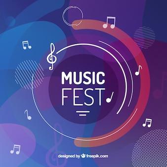 Фон музыкального фестиваля с музыкальными нотами