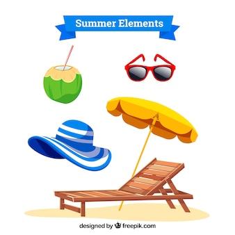 夏の服とフラットスタイルの要素のセット