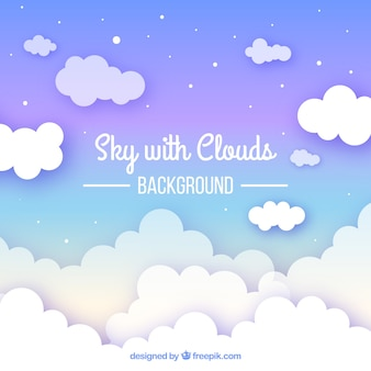 フラットスタイルの曇った空の背景