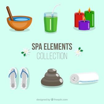 Набор элементов спа-центра со свечами и ароматическими маслами