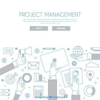 フラットスタイルのホワイトプロジェクト管理コンセプト
