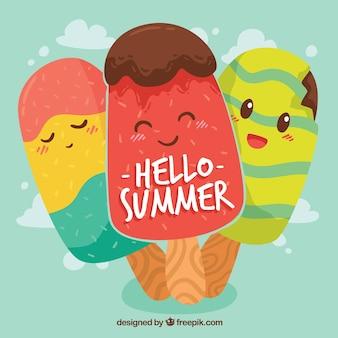 こんにちは、おいしいアイスクリームと夏の背景