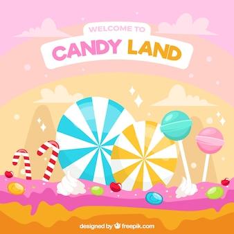 カラフルなキャンディー土地の背景