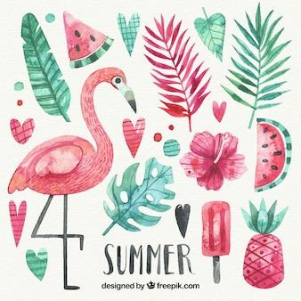 水彩スタイルの夏の要素のセット