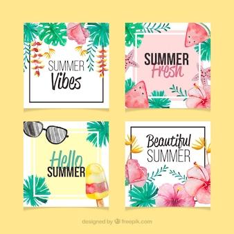 水彩の質感を持つ夏のカードのセット