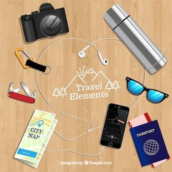 現実的なスタイルの旅行要素のセット
