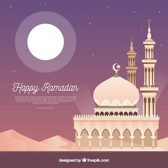 フラットスタイルのモスクとラマダンの背景