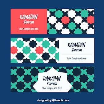 Набор рамаданских баннеров с мозаикой