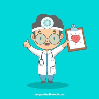 クリップボードを持つ幸せな医者