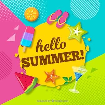 Веселый и красочный летний фон