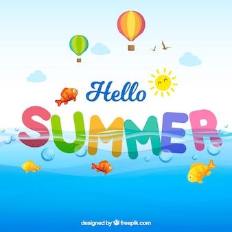 楽しさとカラフルな夏の背景