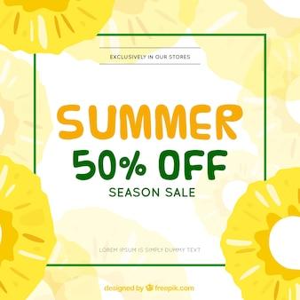 パイナップルのパターンと夏の販売テンプレート