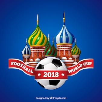 現実的なスタイルでボールを持つワールドサッカーカップの背景