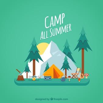 Летний лагерь в плоском стиле