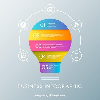 Лампочка инфографическая с элементами в плоском стиле