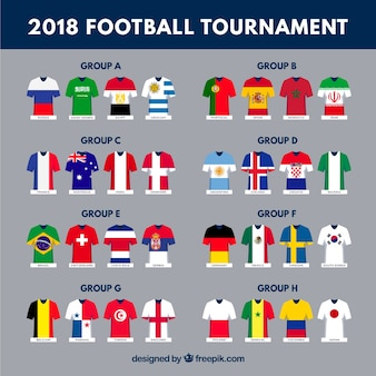 異なるフラグを持つサッカーワールドチャンピオンシップのグループ