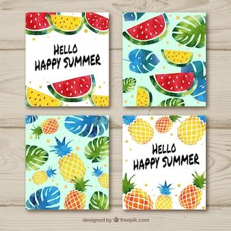 手描きの果物と夏のカードコレクション