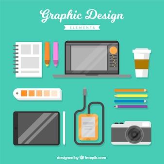 フラットスタイルのグラフィックデザイン要素のセット
