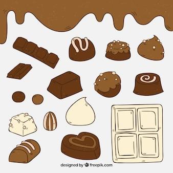 手描きのチョコレートバーのコレクション
