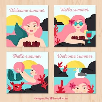 さまざまな状況で女性と夏のカードコレクション