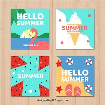 フラットデザインの夏のカードコレクション