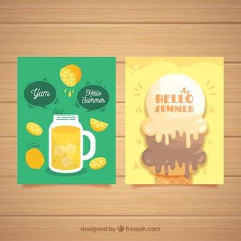 Набор летних карточек со свежей едой