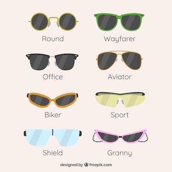 Коллекция современных солнцезащитных очков в плоском стиле
