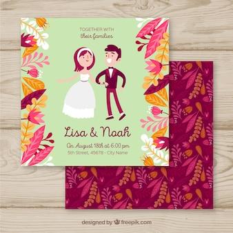 かわいい恋人と結婚式の招待状