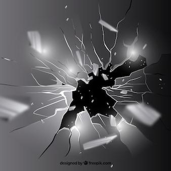 現実的なスタイルの破損したガラスの背景